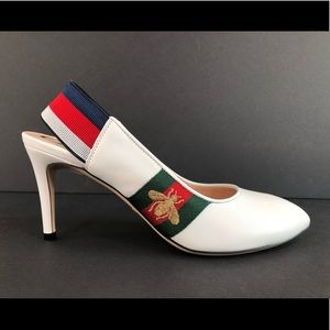 Gucci Sylvie Web Bee Star Slingback Leather Pumps